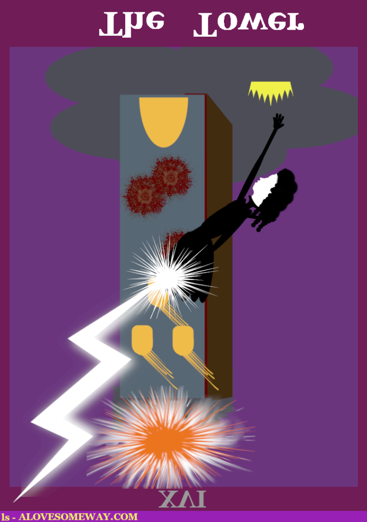 An image of the Tarot Card The Tower inversed