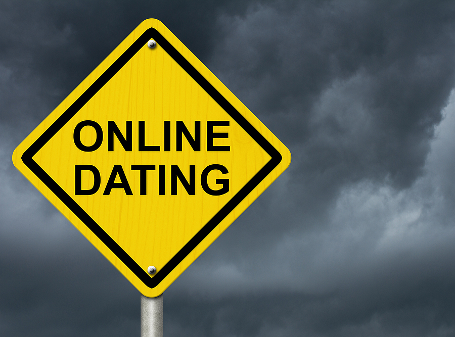 Warning Sign for Online Dating with stormy clouds in the background