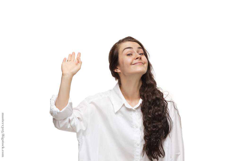 Bye bye dude.  woman with funny, unusual popular emotions and gestures on white studio background.