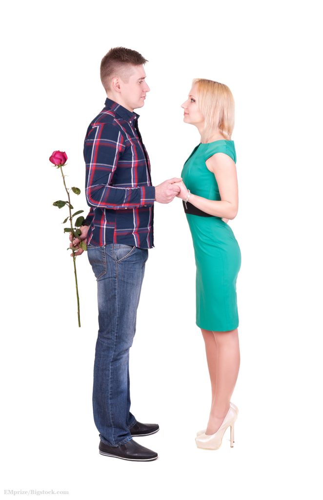 man with rose making surprise or marriage purpose for his woman